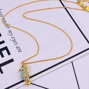 Zircon Enamel Glaze Seahorse Necklace